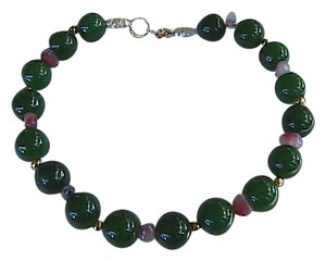Unknown 14k Yellow Gold Spinach Jade Pearl and Amethyst Bracelet