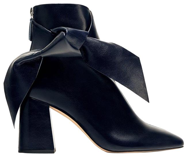 Item - Blue Leather Bow Ankle Boots/Booties Size US 5 Regular (M, B)
