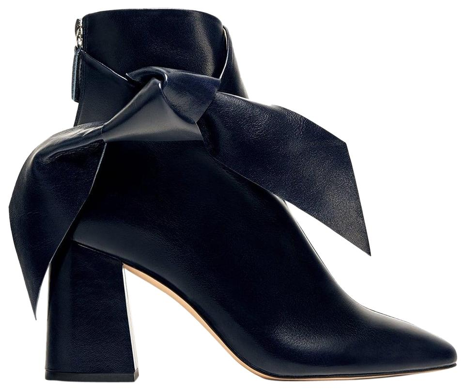 Booties Zara Boots Ankle Bow Blue Leather waqUvX