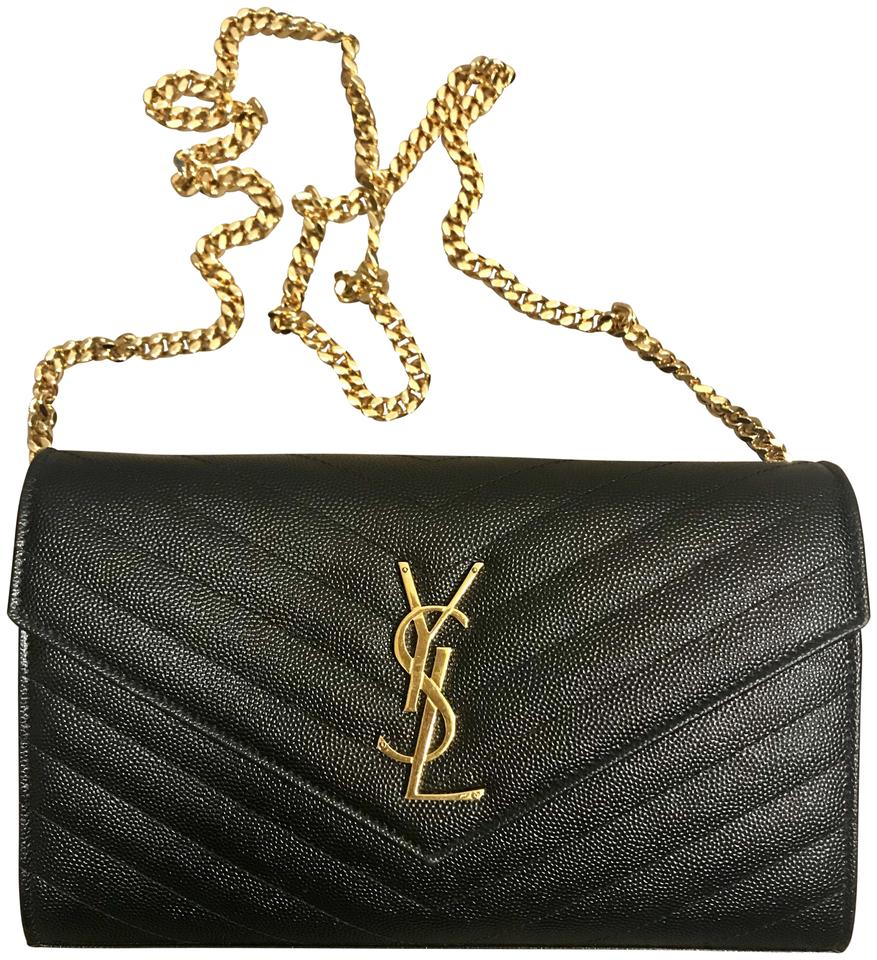9213921de7 Saint Laurent Chain Wallet Yves Ysl Monogram Chevron Matelasse ...