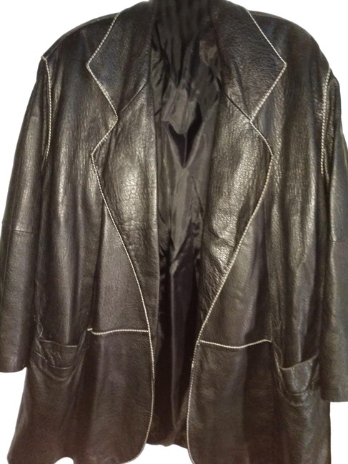 Item - Black White Large Made In Italy Belted Stitched Leather Jacket Coat Size 16 (XL, Plus 0x)