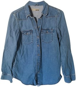 Topshop Distressed Western Button Down Shirt Denim chambray