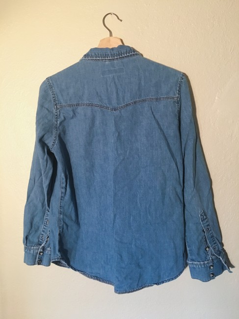 Topshop Distressed Western Button Down Shirt Denim chambray Image 2