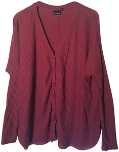 Out From Under Leather Slouchy Thermal Urban Outfitters Button Down Shirt Rust