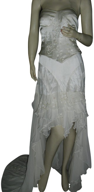 Item - Off White Corset Wedding High Front Train Back Silk Ruffle Formal Dress Size 6 (S)