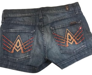 7 For All Mankind 7forallmankind 7jeans Crystals Studded Mini/Short Shorts Blue Denim