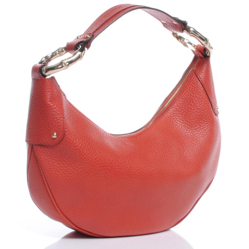 a2720d0aaec4 Gucci W  Bamboo Ring Red Leather W  Gold Detail Hobo Bag - Tradesy