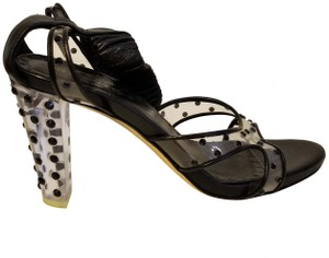 Saint Laurent Yves Vintage Leather Black and Clear with Polka Dots Sandals