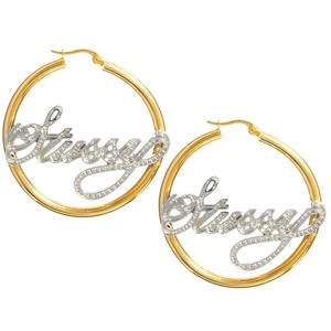 Stüssy Love To Rock My Gold And Silver Nameplate Hoop