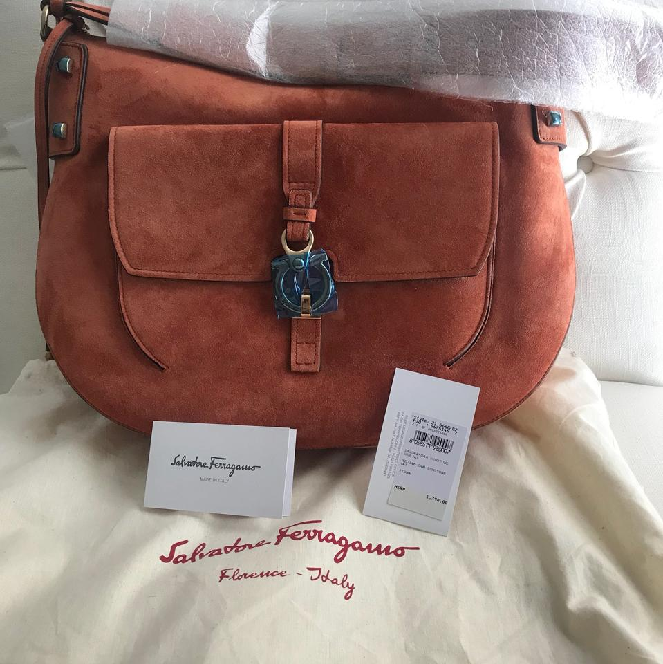 2d8d6bb5836f Salvatore Ferragamo Fiona Sunburnt Orange Suede Leather Cross Body ...