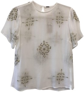 Chan Luu Sheer Layering Piece Luxury Embellished Top Ivory, Gold