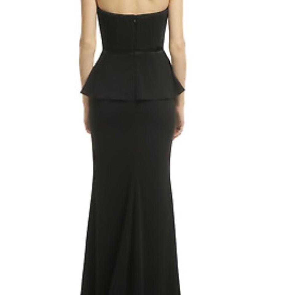 Badgley Mischka Black Rosalind Peplum Gown Long Formal Dress Size 12 ...