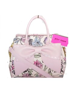 Betsey Johnson Floral Wallet Crossbody Satchel in WHITE/ PINK