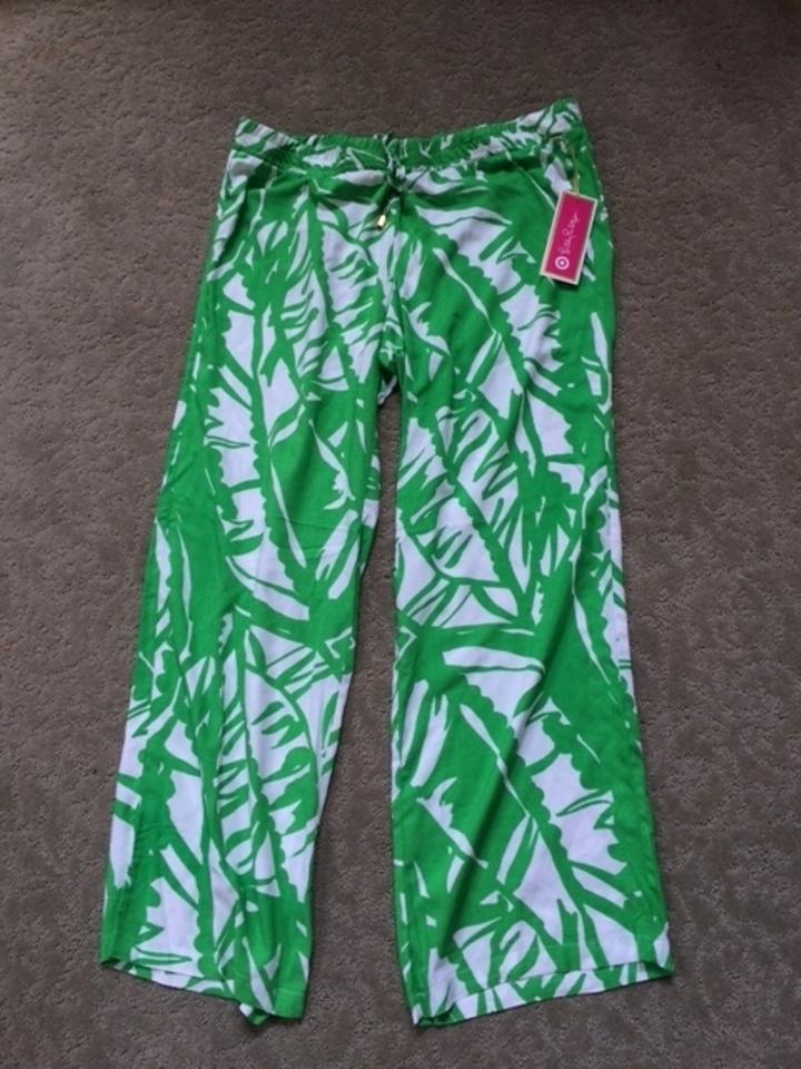 461b317c23 Lilly Pulitzer for Target Boom Boom Palazzo Relaxed Pants Green and White  Image 4. 12345