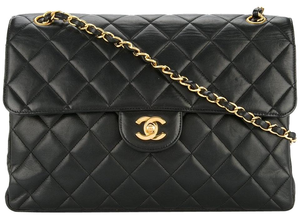 Chanel Classic Flap Vintage Double Sided Black Lambskin Shoulder Bag ... fa25a9e995470