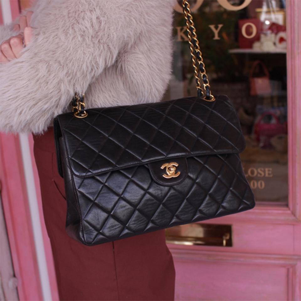 704765a79856 Chanel Classic Flap Vintage Double Sided Black Lambskin Shoulder Bag ...