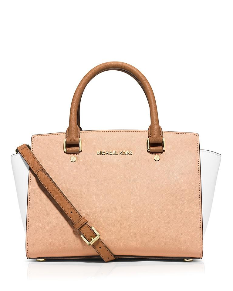 3edb02ce36663 MICHAEL Michael Kors Medium Selma Tricolor Top Zip Nude White Peanut  Saffiano Leather Satchel