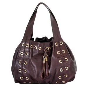 Michael Kors Drawstring Satchel Purse Xl Extra Large Tote in Merlot Wine Burgandy Dark Red