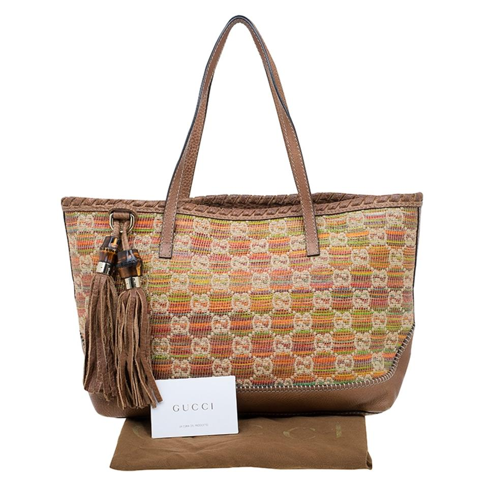 45881d179b2486 Gucci Raffia Leather Sunset Tote in Multicolour Image 11. 123456789101112