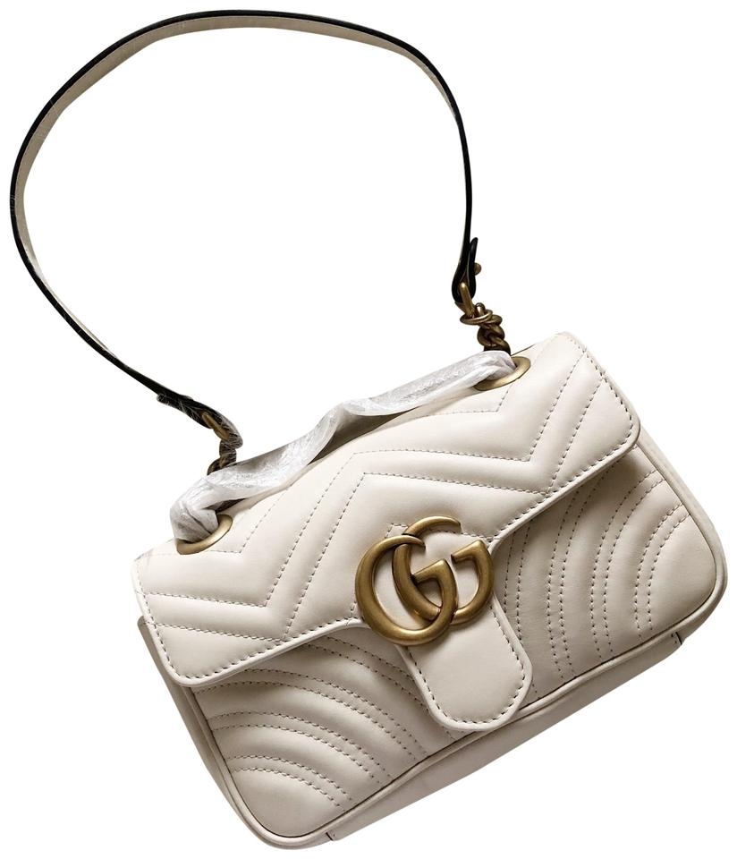 8c4b0987389a Gucci Marmont Mini Matelasse White Leather Cross Body Bag - Tradesy