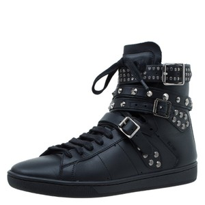 Saint Laurent Paris Sneakers Leather High Top Black Boots