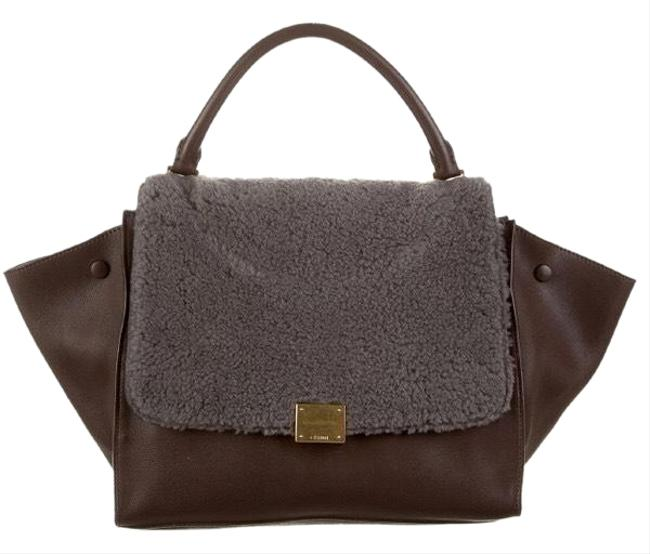 Item - Trapeze Genuine Black and Maroon Leather Shearling Satchel