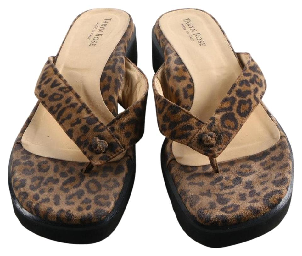 0565e556025c Taryn Rose Brown Animal Print Thongs Sandals Size EU 40 (Approx. US ...