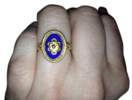 Greek Designer 18K Gold Ring with Blue Afghanistan Lapis