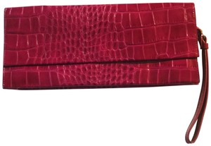 Saks Fifth Avenue Wrist Strap Animal Texture New Hot Pink Clutch
