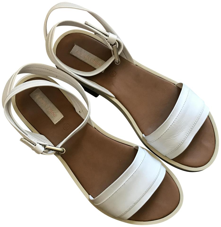 9c682c88f5e See by Chloé White Black Silver Brown Robin Sandals Size US 8 ...