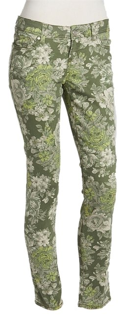 Rewash Military Green Jeans Floral Skinny Pants Military Green/Floral