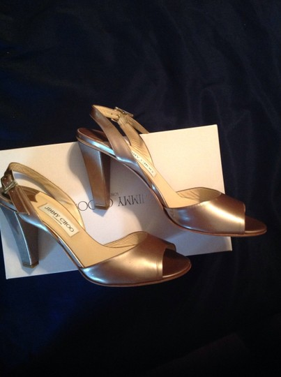 Jimmy Choo Leather Patentleather Patent Champagne Bronze Pumps Heels 85mm Classic Pearl Pearlized Sandals