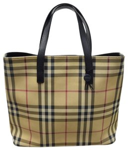 Burberry London Plaid Pvc Leather Satchel in Light Brown (main color)