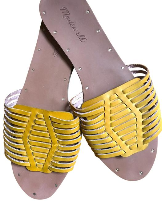 Item - Yellow and Brown Willa Slide Sandals Size US 8.5 Regular (M, B)