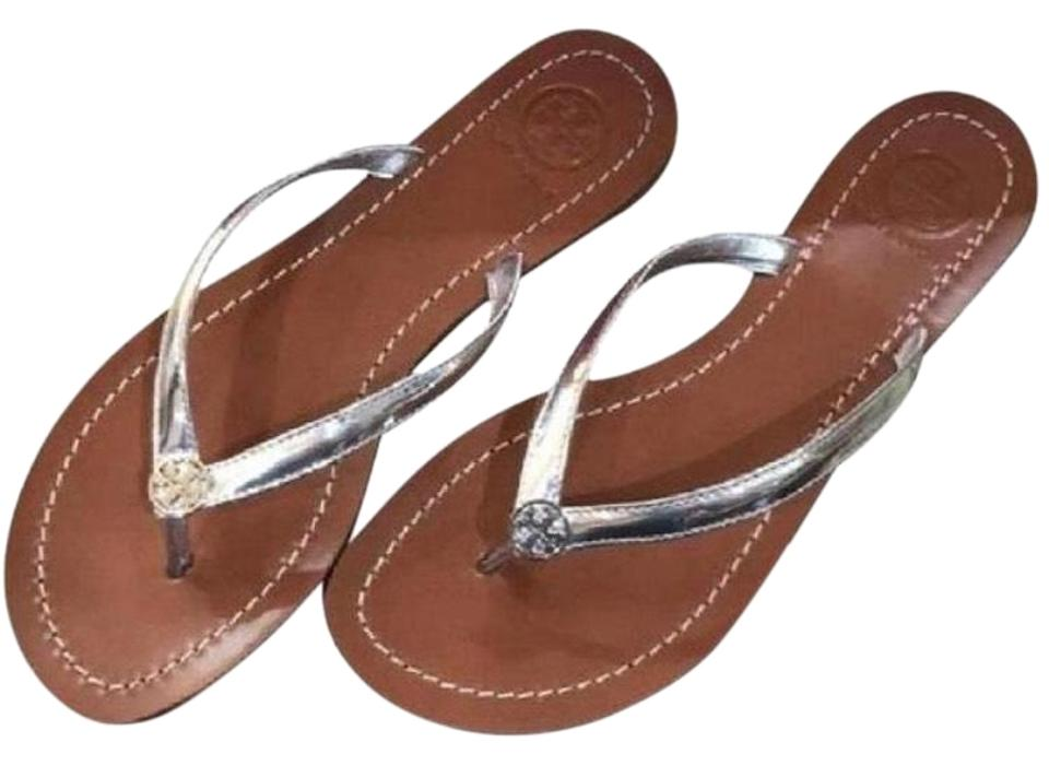d69709b7f Tory Burch Silver New In Box Terra Thong Sandals Size US 5.5 Regular ...