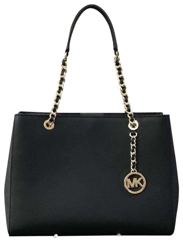 06a35f023d62 Michael Kors Susannah Large Tote Chain Handbag Purse Black Saffiano Leather  Shoulder Bag