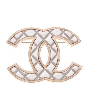 Chanel Metal Quilted CC Brooch Silver Gold