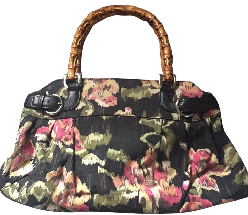 Talbots Satchel In Black With Pink And Green Fl