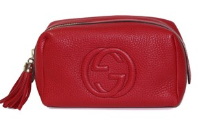 Gucci GUCCI 308636 Leather Soho Tassel Cosmetic Makeup Bag, Red