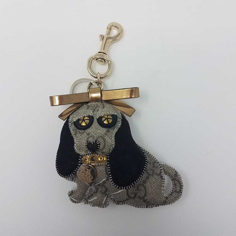 2a011dc16ef Gucci Beige Gold Black Grey Gg Canvas Dog Keychain Wallet - Tradesy