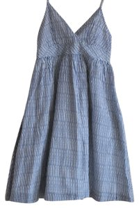 Gap short dress Blue Striped Silk Cotton Pockets on Tradesy