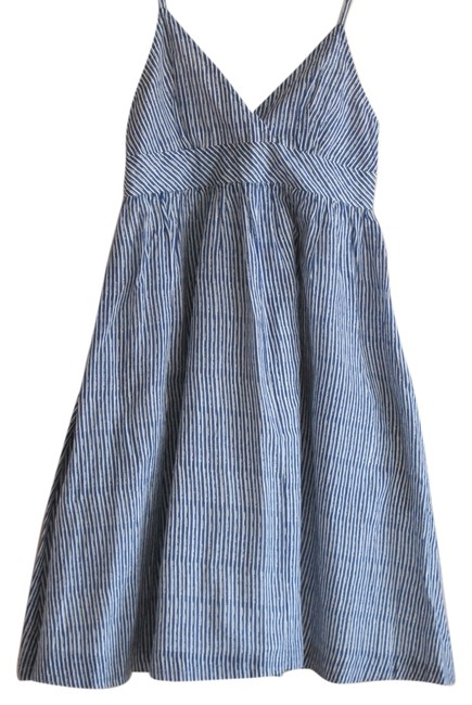 Gap short dress Blue Striped Silk Cotton Pockets Empire Waist on Tradesy