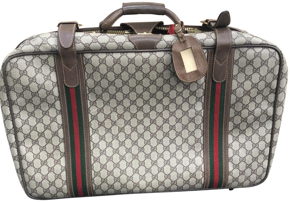 8f592f66f93 Gucci Vintage Monogram 80 s Suitcase Luggage Brown Leather Weekend Travel  Bag