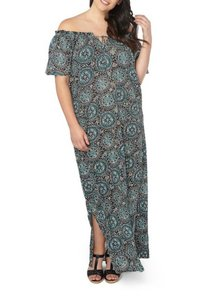 NWT Dark Print Maxi Dress by Evans Unlined Short Sleeves Cool Comfy Viscose Off The Shoulder Tie Neck