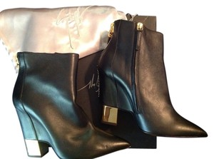 Giuseppe Zanotti Nib Wedge Leather Zip Gold Black Boots