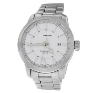 Tourneau Authentic Mens Tourneau Chronometer 53288-4B Steel Date Quartz 44MM