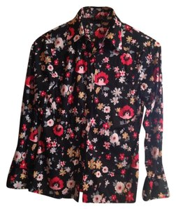 The Bon Marche Vintage Polyester Washable Dryable Top Black with multicolored flowers