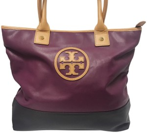 Tory Burch Color Block Tote in Purple and Navy