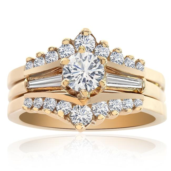 Item - Yellow Gold 0.75 Carat Diamond Engagement 14k Women's Wedding Band Set