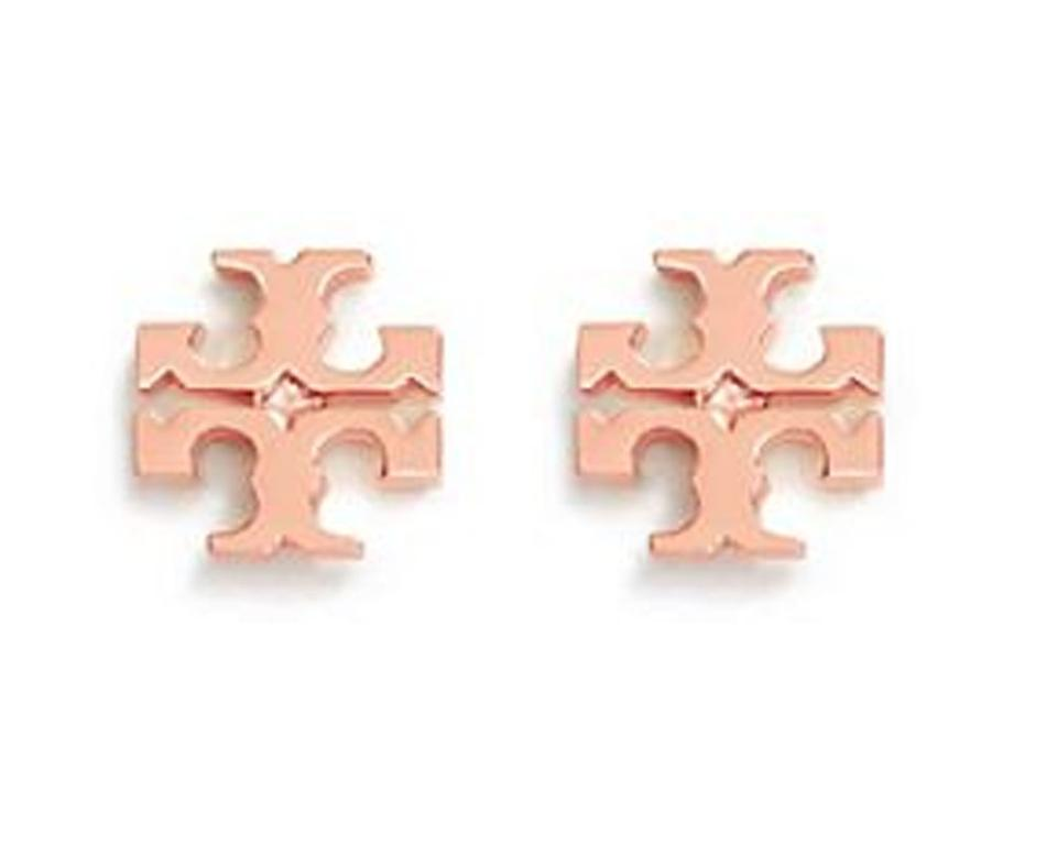 Tory Burch New Small T Logo Studs On Card With Dust Cover Rose